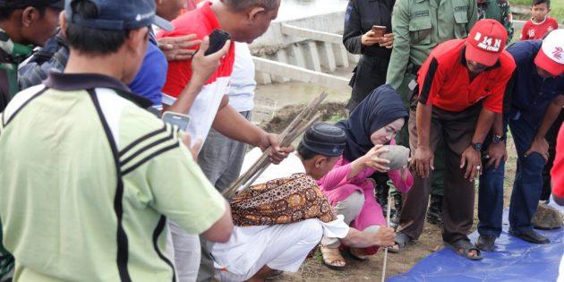 Tinjau Tanggul Kritis Kali Pemali Desa Tengki, Idza Pasang Terpal