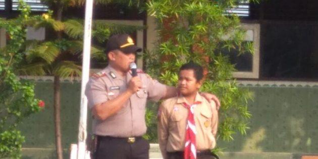Latih Kedisiplinan, Siswa Baru SMPN 2 Jatibarang Digembleng Polisi