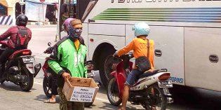 Simpati Gempa Palu, Puluhan Driver Ojol  Brebes Adakan Aksi Galang Dana