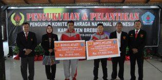 Pelantikan KONI Brebes, Soebroto : Atlet Berprestasi, Diusulkan Jadi Pegawai Pemerintah
